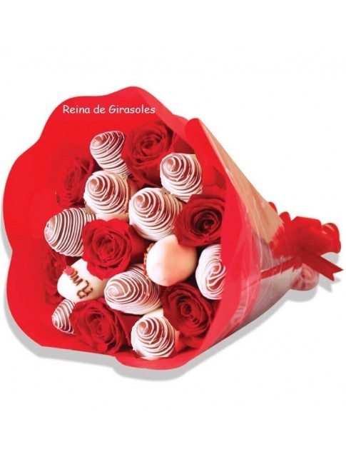 Bouquet x 12 rosas y 10 Fresas - PEDIR CON 1 DIA DE ANTICIPACIÓN